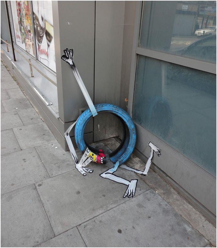 garbage painted to look human monsters faces francisco de pajaro london banksy brick lane 15