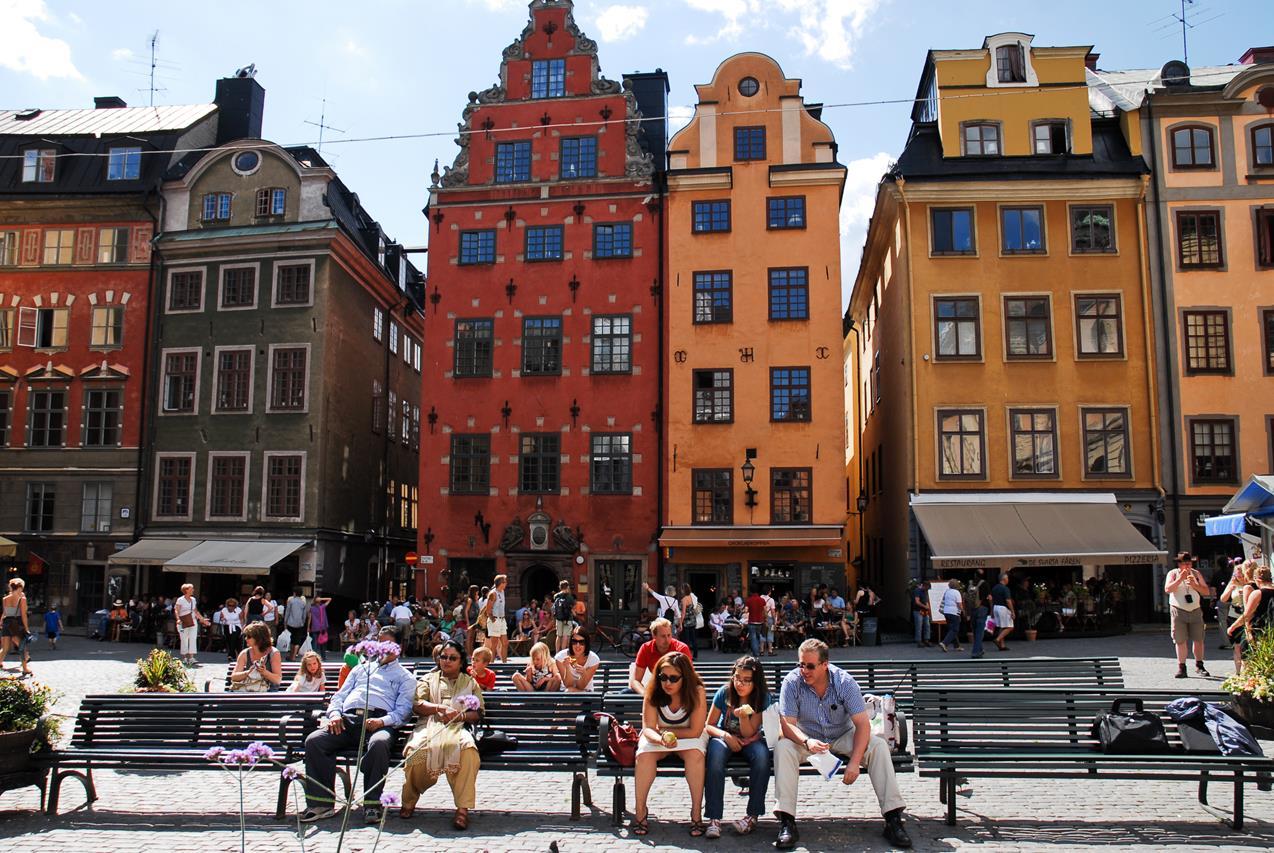 Stortorget square architecture, Gamla stan, Stockholm, Sweden, Northern Europe.